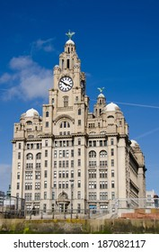 LIVERPOOL UK, APR 9, 2013: The Royal Liver Building seen from the River Mersey. The building is the most iconic on the Mersey waterfront.