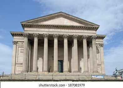 LIVERPOOL UK, APR 9, 2014: St George�´s Hall on Lime Street Liverpool is built in the Neoclassical style and regarded by Pevsner as one of the finest neo-Grecian buildings in the world.