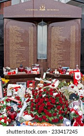 Liverpool, UK, April 15 2014 - Flowers laid to commemorate the 25th anniversary of the hillborough disaster that killed 96 spectators