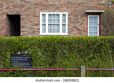 LIVERPOOL, UK - APRIL 16TH 2014: The childhood home of Sir Paul McCartney (20 Forthlin Road) in Liverpool on 16th April 2014.