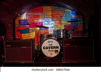 LIVERPOOL, UK - APRIL 17TH 2014: The stage inside the Cavern Club in Liverpool on 17th April 2014.  Many bands started playing at the Cavern before they were famous including 'The Beatles'.