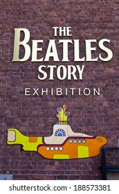 LIVERPOOL, UK - APRIL 18TH 2014: A sign for 'The Beatles Story' Exhibition in Liverpool on 18th April 2014.