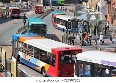 LIVERPOOL, UK - APRIL 20, 2012: People ride StageCoach buses on in Liverpool, UK. Stagecoach Group has 16 percent bus market in the UK. Stagecoach UK employs 18,000 people.