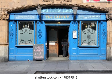 LIVERPOOL, UK - APRIL 20, 2013: The Liffey pub in Liverpool, UK. As of 2011 there were more than 50 thousand pubs in the UK. Pubs are a fundamental element of UK culture.