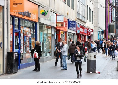 LIVERPOOL, UK - APRIL 20: People shop on April 20, 2013 in Liverpool, UK. Liverpool City Region has a population of around 1.6 million people and is one of largest urban areas in the UK.