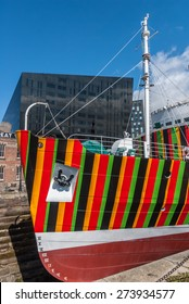 Liverpool, UK - April 4th, 2015: A boat with dazzle designs for the 1418 NOW WW1 Centenary Art Commission, Liverpool Biennial and Tate painted by artist Carlos Cruz-Diez.