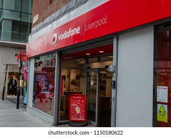 Liverpool, UK: Aug 3, 2018: A retail store branded as Vodafone in Liverpool. Vodafone is a multinational company which specialises in telecommunications. They are headquartered in London.