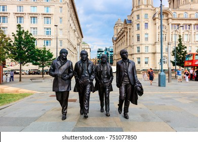 LIVERPOOL, UK - AUGUST 18, 2016: Bronze statue of the four Liverpool Beatles stands on Liverpool Waterfront by sculptor Andrew Edwards