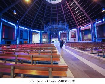 LIVERPOOL, UK - CIRCA JUNE 2016: Liverpool Metropolitan Cathedral aka Metropolitan Cathedral of Christ the King designed by Sir Frederick Ernest Gibberd in 1967