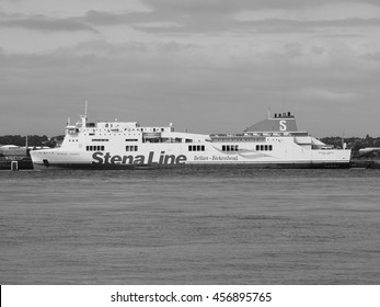 LIVERPOOL, UK - CIRCA JUNE 2016: Stena Line boat between Belfast and Birkenhead in black and white