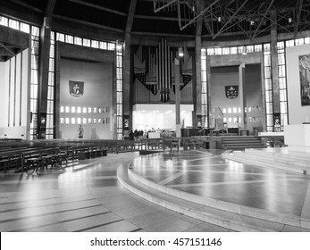 LIVERPOOL, UK - CIRCA JUNE 2016: Liverpool Metropolitan Cathedral aka Metropolitan Cathedral of Christ the King designed by Sir Frederick Ernest Gibberd in 1967 in black and white