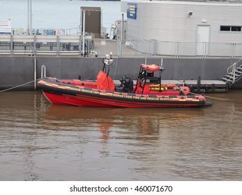 LIVERPOOL, UK - CIRCA JUNE 2016: Marine rescue unit of Merseyside Fire and Rescue service