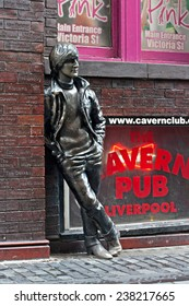 LIVERPOOL, UK, DECEMBER 7 2014. Statue of John Lennon by local artist Arthur Dooley in Mathew St, Liverpool. UK