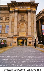 LIVERPOOL, UK - FEBRUARY 19 2014: The entrance to the Central Library in Liverpool on 19th February 2014. Vertical orientation.