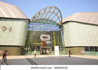 LIVERPOOL, UK - JULY 24TH 2014: Atrium. The Arena and Convention Centre Liverpool (ACC Liverpool) is a multipurpose events and convention venue located on the former Kings Dock in Liverpool, England