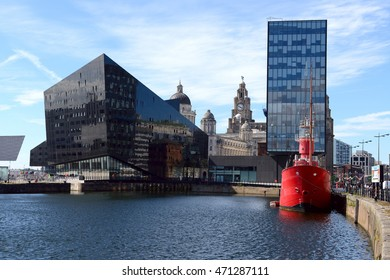 LIVERPOOL, UK - JULY 27, 2016: View of Liverpool's historic waterfront with modern and old architecture.