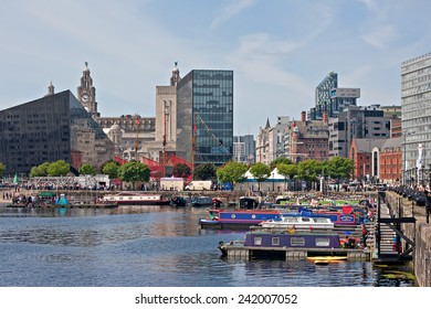LIVERPOOL UK, JUNE 15 2014, Canal barges take part in the annual Mersey River Festival in Liverpool UK.
