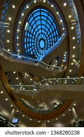 Liverpool / UK - March 14 2019: Central Library in Liverpool, lightened atrium and dome view in the evening/night