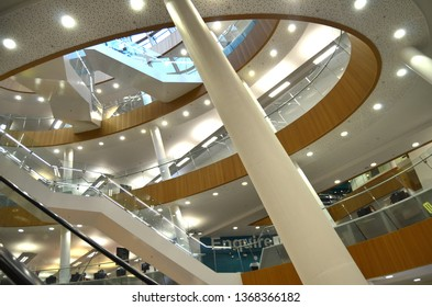 Liverpool / UK - March 14 2019: Central Library in Liverpool, lightened atrium staircase