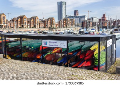 Liverpool / UK - March 22 2020: Canoe and kayak storage facility, Liverpool Canoe Club, Coburg Wharf, Liverpool