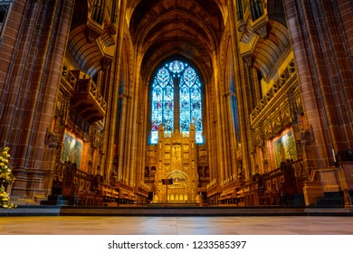 Liverpool, UK - May 16 2018: Liverpool Cathedral based on a design by Giles Gilbert Scott, constructed between 1904 and 1978 and it's the world's largest Anglican church building