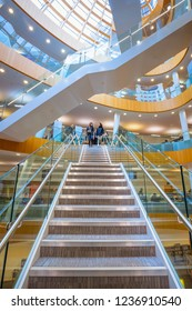 Liverpool, UK - May 16 2018: Liverpool Central Library designed by John Grey Weightman completed in 1860, in 2009, older building was replaced by new architure with modern IT services