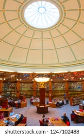Liverpool, UK - May 16 2018: The Picton Reading Room at Liverpool Central Library was founded in 1875 designed by Cornelius Sherlock and modelled after the British Museum Reading Room