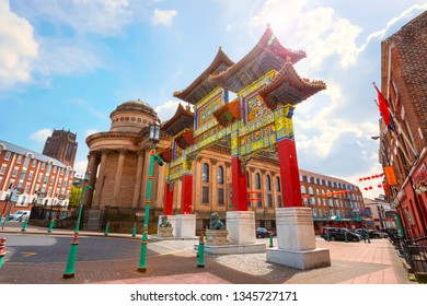 Liverpool, UK - May 16 2018: Chinatown is the oldest Chinese community in Europe, located in south of the city centre withChinese arch on Nelson Street, the largest, multiple-span arch outside China