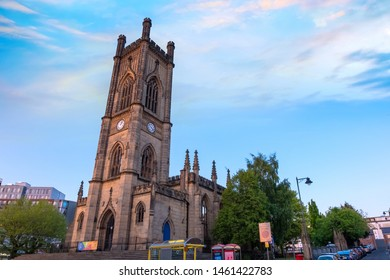 Liverpool, UK - May 16 2018: St Luke's Church a former Anglican parish church, which is now a ruin, built between 1811 and 1832 badly damaged during the Liverpool Blitz in 1941