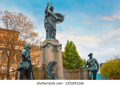 Liverpool, UK - May 16 2018:Memorial to the King's Liverpool erected in 1905 and  dedicated to a Long-established infantry regiment who lost their lives fighting in Afghanistan, Burma and South Africa