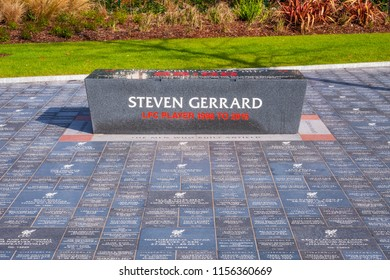LIVERPOOL, UK - MAY 17 2018: Anfield Forever is a landscaped area that forms the walkway alongside the expanded Main Stand which people can buy their own personalised engraved granite stone