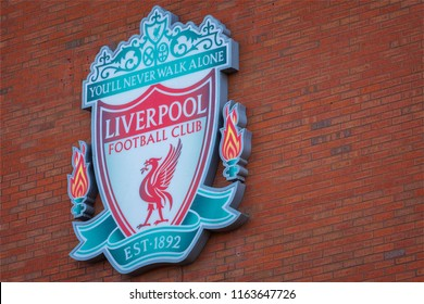 LIVERPOOL, UK - MAY 17 2018: Anfield stadium, the home ground of Liverpool FC which has a seating capacity of 54,074 making it the sixth largest football stadium in England