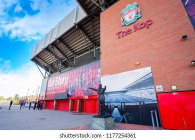 LIVERPOOL, UK - MAY 17 2018: Statue of Bill Shankly in front of Anfield. He's the manager who brings Liverpool to 1st division in 1962 and rebuilt the team into fame in English and European football
