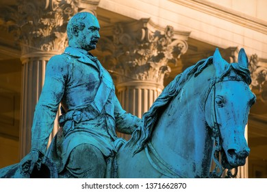 Liverpool, UK - May 17 2018: Prince Albert Statue at St George's Hall by Thomas Thornycroft (1814-1885). Erected in 1866 with Bronze on a granite pedestal