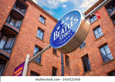 Liverpool, UK - May 17 2018: The Beatles Story located at Albert Dock, opened on 1 May 1990. The museum was also recognised as one of the best tourist attractions of the United Kingdom in 2015