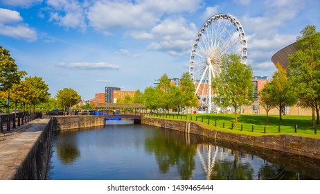 Liverpool, UK - May 17 2018: The Wheel of Liverpool on the Keel Wharf waterfront the Merseyside, opened in 2010 with 196 feet tall, weighs 365 tons and has 42 fully enclosed capsules attached