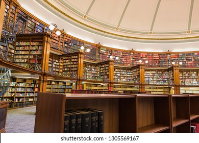 Liverpool, UK - October, 20 2017: Liverpool Central Library inside a beautiful round reading room with a lot of books.