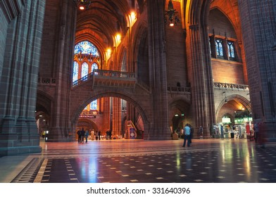 LIVERPOOL, UK - SEPTEMBER 5, 2014: Interiors of the Church of England Anglican Cathedral of the Diocese of Liverpool ranking as the fifth-largest cathedral in the world. Located at St James's Mount