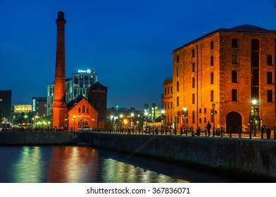 LIVERPOOL, UK - SEPTEMBER 5, 2014: The Pumphouse of Albert Dock at night - complex of buildings and warehouses opened in 1846, part UNESCO designated World Heritage Maritime Mercantile City