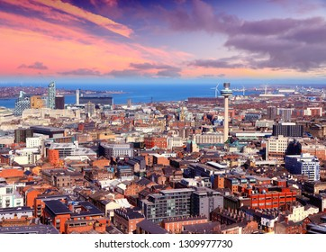 Liverpool UK sunset aerial view. City in the United Kingdom.