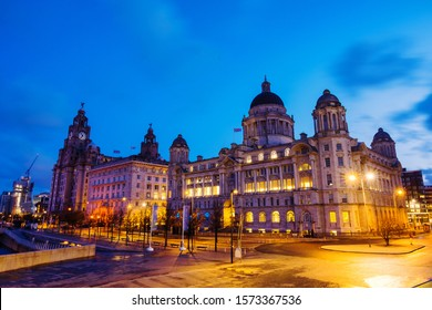 Liverpool, UK. View of the historical buildings at the waterfront of Liverpool, England, UK during the sunrise