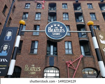 LIVERPOOL, UK-25 AUGUST 2019: The Beatles Story is a museum in Liverpool about the Beatles and their history. It is located on the historical Albert Dock. The Beatles Story was opened on 1 May 1990