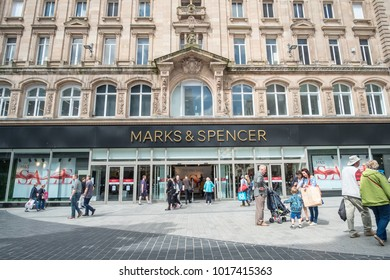 Liverpool, United Kingdom - 20 July 2017: Exterior shop of Marks and Spencer or M&S, a major British multinational retailer selling clothing, home products and luxury food products