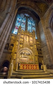 Liverpool, United Kingdom - 20 July 2017: Interior view of Liverpool Cathedral.