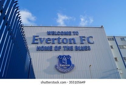 LIVERPOOL, UNITED KINGDOM - 24 DECEMBER 2015: Goodison Park stadium with blue fence. Goodison Park stadium is the home stadium of Everton Football Club.