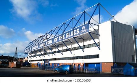 LIVERPOOL, UNITED KINGDOM - 24 DECEMBER 2015: Goodison Park Stadium taken in 24 DECEMBER 2015. Goodison Park stadium is the home stadium of Everton Football Club.