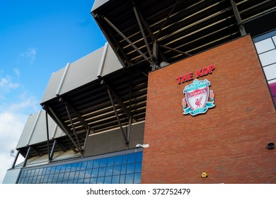 LIVERPOOL, UNITED KINGDOM - 24 DECEMBER 2015: The entrance of the Anfield stadium, UK. Anfield stadium is the home stadium for Liverpool Football Club.