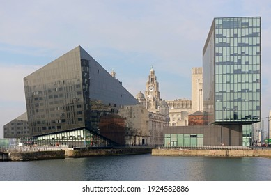 Liverpool, United Kingdom, 2nd February, 2020: Full frame image of the Mann island complex in liverpool with the iconic liver building as background.