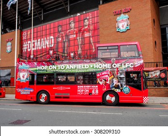 LIVERPOOL, UNITED KINGDOM - APRIL 13, 2015: Row of seats in Anfield stadium, Liverpool, UK. It is the seventh largest football stadium in England and has been the home of Liverpool F.C. since 1892.