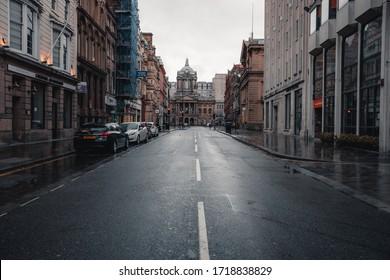 Liverpool, United Kingdom, April 2020: Castle street on a wet rainy day is empty during coronavirus covid19 lockdown